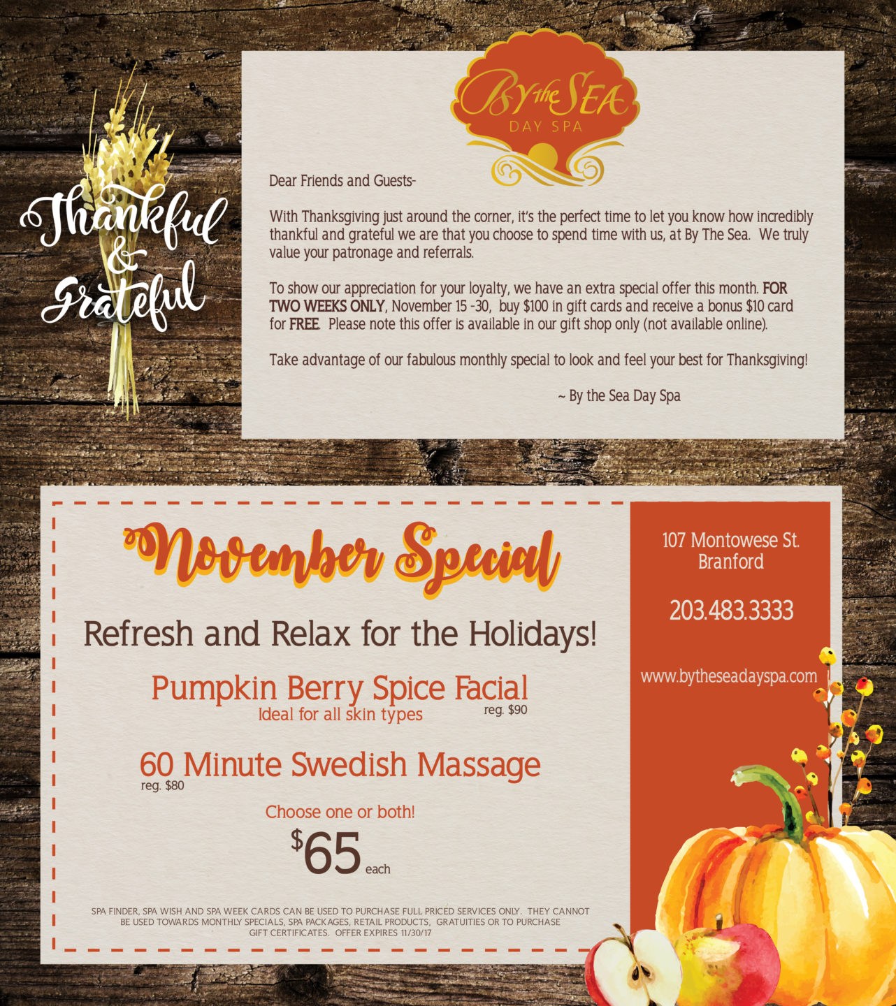 By The Sea Day Spa - November 2017 Monthly Special